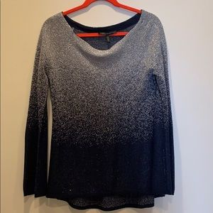 WHBM size M blue and silver top with bell sleeves